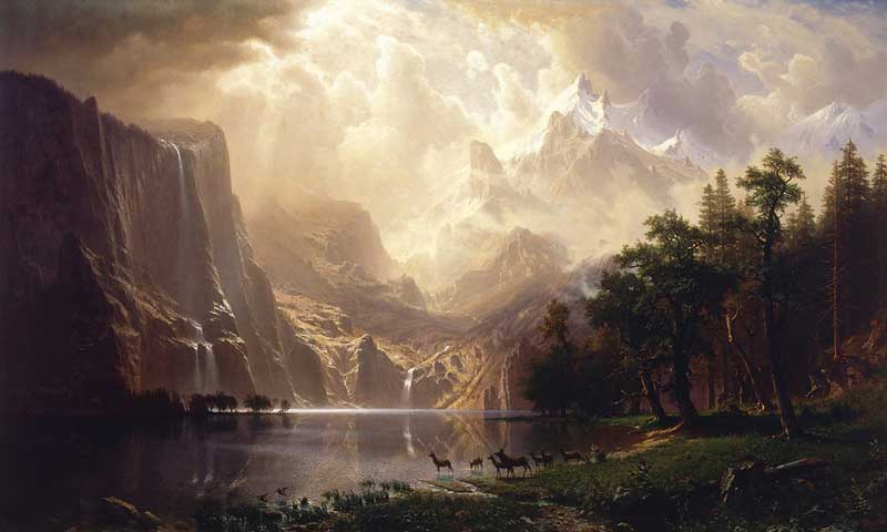 Among the Sierra Nevada Mountains, California. Painting by Albert Bierstadt, 1868